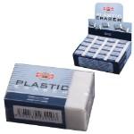 Резинка стирательная KOH-I-NOOR, прямоугольная, 30х18х12 мм, белая, картонный держатель, картонный дисплей