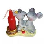 Подставка под свечу + свеча Пара мышек 4,5см 1055 1⁄4
