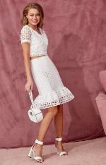 Костюмы с юбками H.I.T. Белоснежный костюм из хлопкового шитья с кроп-топом и мини-юбкой