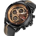 NAVIFORCE Мужские кварцевые наручные часы с кожаным ремешком