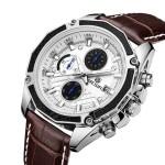 MEGIR M2015 Часы наручные мужские кварцевые с кожаным ремешком