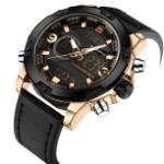 NAVIFORCE Мужские спортивные наручные часы с кожаным ремешком