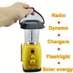 Мобильный фонарь с солнечной батареей, динамо подзарядкой и FM радио