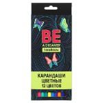 Вандер Флайт Карандаши 12 цветов шестигранные заточенные, улучшенное письмо, пластик, в карт.коробке
