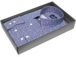 Синяя приталенная мужская рубашка Poggino 5007-15