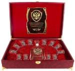 Водочные наборы: Набор Штоф Капитол и 12 стопок(золотая кайма) Герб (латунь) Гос.человек  шкатулка  с музыкальным блоком